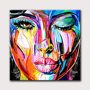 cheap Abstract Paintings-Oil Painting Hand Painted Abstract People Modern Rolled Canvas Rolled Without Frame
