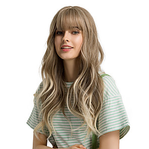 cheap Synthetic Trendy Wigs-Synthetic Wig Bangs Curly Body Wave Side Part Neat Bang With Bangs Wig Ombre Very Long Light Brown Synthetic Hair 24 inch Women's Cosplay Women Synthetic Light Brown Ombre HAIR CUBE / Ombre Hair