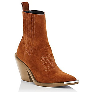 cheap Women's Boots-Women's Boots Chunky Heel Pointed Toe Suede Booties / Ankle Boots Fall & Winter Black / Brown / White