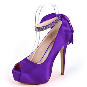 cheap Wedding Shoes-Women's Wedding Shoes Lace up Stiletto Heel Peep Toe Sparkling Glitter / Ribbon Tie Satin Minimalism Fall / Spring & Summer Purple / Red / Dark Purple / Party & Evening