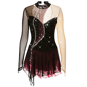 cheap Ice Skating Dresses , Pants & Jackets-Figure Skating Dress Women's Girls' Ice Skating Dress Dark purple Violet Black and Purple Spandex Competition Skating Wear Handmade Solid Colored Fashion Long Sleeve Ice Skating Figure Skating