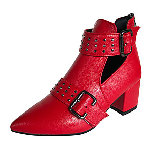 cheap Women's Boots-Women's Boots Chunky Heel Pointed Toe Rivet Faux Leather Booties / Ankle Boots British Fall / Spring & Summer Black / White / Red