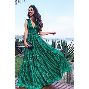 cheap Women's Boots-Women's Maxi A Line Dress - Sleeveless Geometric Print Spring & Summer Deep V 2020 Green S M L XL