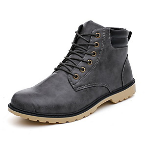 cheap Men's Boots-Men's Combat Boots PU Fall & Winter Boots Booties / Ankle Boots Black / Yellow / Gray