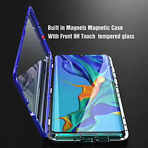 cheap Huawei Case-Double sided Glass Magnetic Case for Huawei P30 Clear 360 Protection Mobile Phone Case Metal Magnet Adsorption Protective Case for Huawei P30Lite P30 Pro P20 P20 Lite P20 Pro