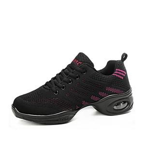 cheap Dance Sneakers-Women's Dance Shoes Knit Dance Sneakers Sneaker Thick Heel Customizable Black / Black / Red / White