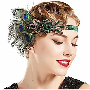 cheap Historical & Vintage Costumes-The Great Gatsby Vintage 1920s The Great Gatsby Gloves Flapper Headband Women's Feather Costume Head Jewelry Fascinators Green Vintage Cosplay Festival / Headwear / Headwear