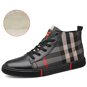 cheap Men's Sneakers-Men's Leather Shoes Cowhide Winter British / Preppy Sneakers Walking Shoes Warm Black / White