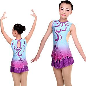 cheap Movie & TV Theme Costumes-Rhythmic Gymnastics Leotards Artistic Gymnastics Leotards Women's Girls' Leotard Purple Spandex High Elasticity Handmade Print Jeweled Long Sleeve Competition Ballet Dance Ice Skating Rhythmic