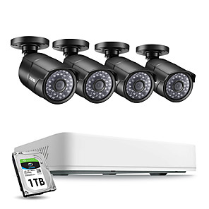 cheap CCTV Cameras-ZOSI 4CH H.265 HD 5.0MP Security Camera System with 4 x 5MP HD Outdoor/ Indoor CCTV Camera Surveillance Kit
