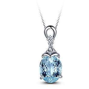 cheap Necklaces-Necklace For Women Silver 925 Jewelry Clavicle Chain Aquamarine Pendant Mermaid Ocean Valentine Fashion Gift
