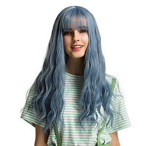 cheap Synthetic Trendy Wigs-Synthetic Wig Bangs Natural Straight Side Part Neat Bang With Bangs Wig Ombre Long Blue Synthetic Hair 24 inch Women's Cosplay Women Synthetic Blue Ombre HAIR CUBE / Ombre Hair