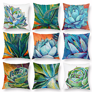 cheap Throw Pillow Covers-Set of 9 Creative Succulent Pillow Cases Home Furnishings Cushion Covers Nordic Pillow Cases