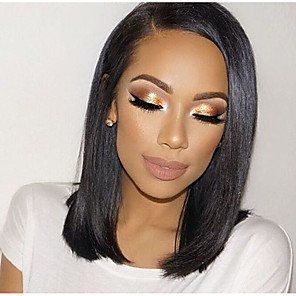 cheap Human Hair Wigs-Remy Human Hair Glueless Lace Front Lace Front Wig Bob style Brazilian Hair Straight Yaki Wig 130% 150% Density with Baby Hair Natural Hairline African American Wig 100% Hand Tied Women's Short