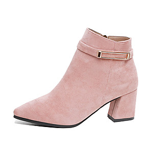 cheap Women's Boots-Women's Boots Chunky Heel Pointed Toe PU Booties / Ankle Boots Minimalism Fall Black / Pink / Khaki
