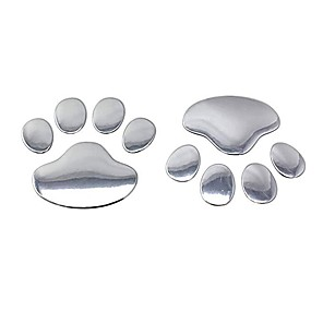 cheap Car Body Decoration & Protection-Car stickers cool design paw 3D animal dog cat foot footprint footprint car decal sticker silver