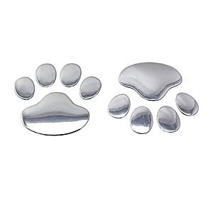 povoljno Ukrasi i zaštita automobila-auto naljepnice cool dizajn šapa 3d životinjski pas mačka noga otisak stopala otisak automobila naljepnica srebrna