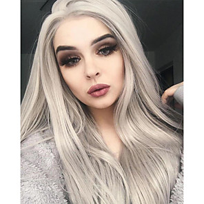 cheap Synthetic Trendy Wigs-Synthetic Lace Front Wig Natural Straight Middle Part Lace Front Wig Long Grey Synthetic Hair 18-26 inch Women's Heat Resistant Party Synthetic Gray