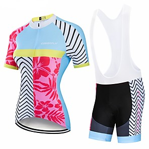 cheap Cycling Jersey & Shorts / Pants Sets-CAWANFLY Women's Short Sleeve Cycling Jersey with Bib Shorts Blue+Pink Floral Botanical Bike Clothing Suit 3D Pad Quick Dry Winter Sports Spandex Lycra Floral Botanical Mountain Bike MTB Road Bike