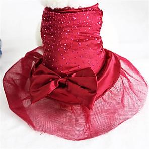 cheap Dog Clothes-Dog Dress Dog Clothes Golden Red Blue Costume Husky Bulldog Shiba Inu Chiffon Terylene Bowknot Birthday Wedding XS S M L XL