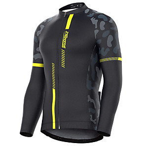 cheap Triathlon Clothing-21Grams Men's Long Sleeve Cycling Jersey Winter Spandex Polyester Black Red Yellow Patchwork Camo / Camouflage Bike Jersey Top Mountain Bike MTB Road Bike Cycling Thermal / Warm UV Resistant