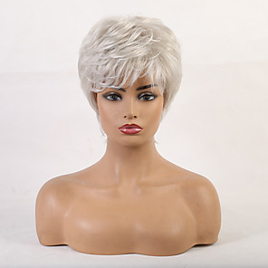 cheap Human Hair Capless Wigs-Human Hair Blend Wig Short Curly Bob Pixie Cut Layered Haircut Asymmetrical White Cool Comfortable Natural Hairline Capless Women's All Sliver White 8 inch / African American Wig