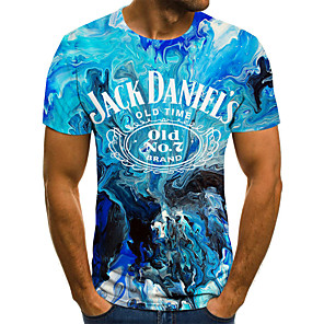 cheap Wedding Shoes-Men's T-shirt Graphic Beer Print Tops Street chic Punk & Gothic Round Neck Blue / Short Sleeve / Summer / Club