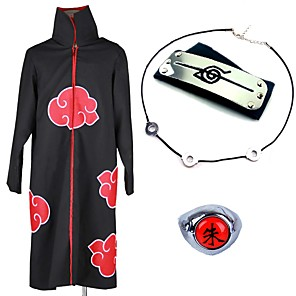 cheap Anime Costumes-Inspired by Naruto Akatsuki Itachi Uchiha Anime Cosplay Costumes Japanese Cosplay Suits Cosplay Accessories Anime Cloak Necklace Headband For Men's Women's / Ring / Ring