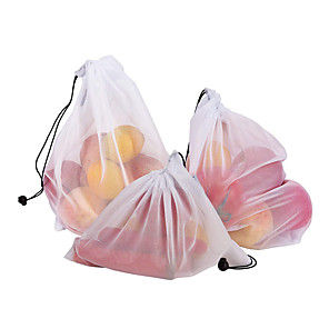 cheap Kitchen Utensils & Gadgets-3pcs  Mesh Bag Vegetable And Fruit Net Bag Polyester Mesh Splicing Mesh Bag Reusable Kitchen Storage Products Organizer
