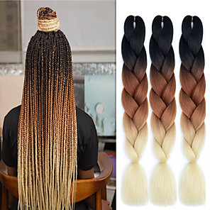 "cheap Clip in Hair Extensions-Braiding Hair Straight Extension Twist Braids Afro Kinky Braids Synthetic Hair 3 Pieces Hair Braids Natural Color 24 inch 24"" Heat Resistant Synthetic 100% kanekalon hair Dailywear African Braids"