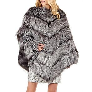 cheap Wedding Wraps-Long Sleeve Coats / Jackets Fox Fur Wedding Women's Wrap With Fur