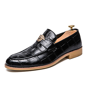 cheap Men's Slip-ons & Loafers-Men's Leather Shoes Spring / Fall Business Party & Evening Office & Career Oxfords Walking Shoes PU Wear Proof Black / Brown