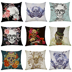 cheap Pillow Covers-9 pcs Linen Pillow Cover, Printing Skeleton Punk Fashion Throw Pillow