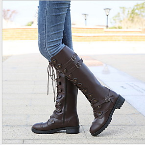 cheap Women's Boots-Women's Boots Knee High Boots Flat Heel Round Toe PU Knee High Boots Winter Black / Yellow / Coffee