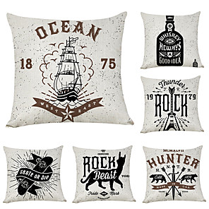 cheap Pillow Covers-6 pcs Linen Pillow Cover, Patterned Music Fashion Modern Throw Pillow