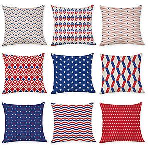 cheap Sale-9 pcs Linen Pillow Cover, Holiday National Flag Fashion Modern Throw Pillow