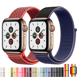cheap Smartwatch Bands-Nylon Sport Loop Watch Band Wrist Strap For Apple Watch Series 5/4/3/2/1 Replaceable Bracelet Wristband Series 4/5 40mm 44mm