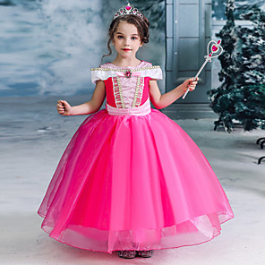 cheap Movie & TV Theme Costumes-Fairytale Princess Princess Aurora Dress Flower Girl Dress Girls' Movie Cosplay A-Line Slip Halloween Christmas Fuchsia Dress Christmas Halloween