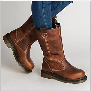 cheap Women's Boots-Women's Boots Winter Flat Heel Round Toe Daily PU Mid-Calf Boots Brown