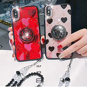 cheap iPhone Cases-Case For Apple iPhone XS / iPhone XR / iPhone XS Max Rhinestone / Ring Holder Back Cover Heart Acrylic