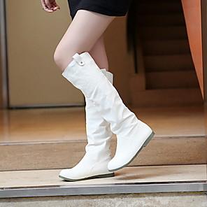 cheap Women's Boots-Women's Boots Knee High Boots Flat Heel Round Toe PU Knee High Boots Winter Black / Brown / White