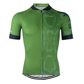 cheap Cycling Jerseys-CAWANFLY Men's Short Sleeve Cycling Jersey Forest Green Bike Jersey Top Mountain Bike MTB Road Bike Cycling Breathable Quick Dry Back Pocket Sports Clothing Apparel / Advanced / Expert / Stretchy