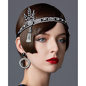 cheap Historical & Vintage Costumes-The Great Gatsby Roaring 20s 1920s Lace Up Flapper Headband Women's Lace up Rhinestones Costume Golden / Black / Silver Vintage Cosplay Party Masquerade Prom