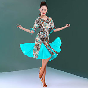 cheap Latin Dancewear-Latin Dance Dress Bow(s) Split Joint Women's Training Performance Half Sleeve Natural Milk Fiber
