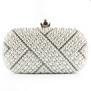cheap Women's Heels-Women's Pearls / Chain Silk Evening Bag Embroidery White / Beige