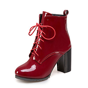 cheap Women's Boots-Women's Boots Chunky Heel Round Toe PU Booties / Ankle Boots Casual / British Fall & Winter Black / Wine / Blue / Party & Evening