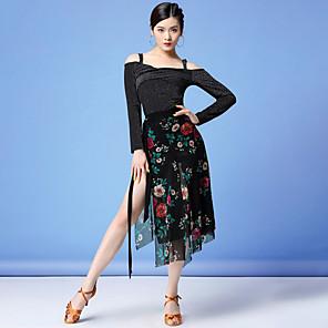 cheap Latin Dancewear-Latin Dance Skirts Glitter Sash / Ribbon Pattern / Print Women's Training Performance Long Sleeve Natural Mesh Milk Fiber