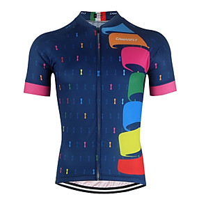 cheap Cycling Jerseys-CAWANFLY Men's Short Sleeve Cycling Jersey Royal Blue Geometic Novelty Bike Jersey Top Mountain Bike MTB Road Bike Cycling Breathable Quick Dry Back Pocket Sports Clothing Apparel / Advanced / Expert