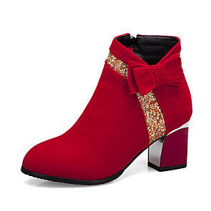 cheap Women's Boots-Women's Boots Chunky Heel Round Toe PU Booties / Ankle Boots Casual / British Fall & Winter Black / Red / Party & Evening