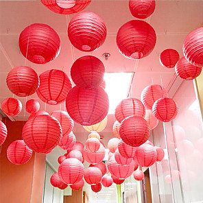 cheap Christmas Decorations-10pcs Multicolor Chinese Round Paper Lanterns Ball for Wedding Party Hanging lanterns Birthday Decor